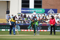June 28, 2019 - Chester Le Street, County Durham, United Kingdom - South Africa's Imran Tahir bowling during the ICC Cricket World Cup 2019 match between Sri Lanka and South Africa at Emirates Riverside, Chester le Street on Friday 28th June 2019. (Credit Image: © Mi News/NurPhoto via ZUMA Press)