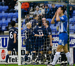 WIGAN, ENGLAND - Sunday, January 20, 2008: Everton's players celebrate after Joleon Lescott (hidden) scores the opening goal against Wigan Athletic during the Premiership match at the JJB Stadium. (Photo by David Rawcliffe/Propaganda)