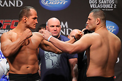 Las Vegas, NV - December 28, 2012: UFC Heavyweight Champion Junior Dos Santos and challenger Cain Velasquez weigh in for their main event bout at UFC 155 at MGM Grand Garden Arena in Las Vegas, Nevada.