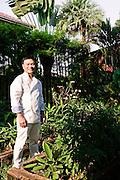 Ian Kittichai in the herb garden at Issaya Siamese Club