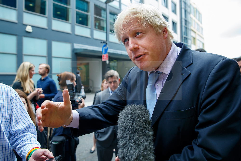 © Licensed to London News Pictures. 16/06/2014. LONDON, UK. Mayor of London Boris Johnson talking to media before launching the first London Technology Week in central London on Monday, 16 June 2014. Photo credit : Tolga Akmen/LNP