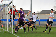 Harry Pell misses his chance during the Vanarama National League match between Guiseley  and Cheltenham Town at Nethermoor Park, Guiseley, United Kingdom on 9 April 2016. Photo by Antony Thompson.