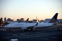 September 2008: Continental Airlines hub at Newark airport in New York at the crack of daylight. Planes at the gates.