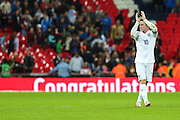 England's Wayne Rooney applauds the fans at the final whistle  during the UEFA European 2016 Qualifying match between England and Switzerland at Wembley Stadium, London, England on 8 September 2015. Photo by Shane Healey.