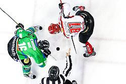 Ales Music of Olimpija and Saso Rajsar of Jesenice during ice hockey match between HDD Telemach Olimpija and HDD SIJ Acroni Jesenice in Final of Slovenian League 2015/2016, on April 4, 2016 in Hala Tivoli, Ljubljana, Slovenia. Photo By Matic Klansek Velej / Sportida