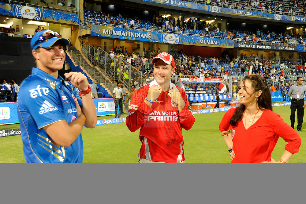 Marchant De Lange of the Mumbai Indians (L to R) David Miller of the Kings X1 Punjab and Preity Zinta co-owner of the Kings X1 Punjab during match 22 of the Pepsi Indian Premier League Season 2014 between the Mumbai Indians and the Kings XI Punjab held at the Wankhede Cricket Stadium, Mumbai, India on the 3rd May  2014<br /> <br /> Photo by Pal Pillai / IPL / SPORTZPICS<br /> <br /> <br /> <br /> Image use subject to terms and conditions which can be found here:  http://sportzpics.photoshelter.com/gallery/Pepsi-IPL-Image-terms-and-conditions/G00004VW1IVJ.gB0/C0000TScjhBM6ikg
