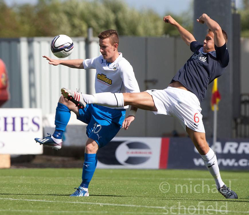 Morton's Archie Campbell and Falkirk's Will Vaulks.<br /> Falkirk 3 v 1 Morton, Scottish Championship 17/8/2013.<br /> &copy;Michael Schofield.
