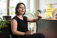 02 JUL 2019, BERLIN/GERMANY:<br /> Annalena Baerbock, MdB, B90/Gruene, Parteivorsitzende, waehrend einem Interview, in ihrem Buero, Jakob-Kaiser-Haus, Deutscher Bundestag<br /> IMAGE: 20190702-01-008