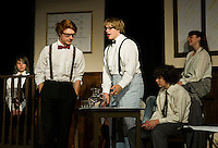 """Henry Drummond (John Hammond) and Matthew Harrison Brady (Taylor Gagne) in the courtroom during dress rehearsal for """"Inherit The Wind"""" on Wednesday afternoon at Laconia High School.  (Karen Bobotas/for the Laconia Daily Sun)"""
