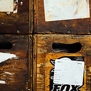 Old Fox crates that are used to ship pieces between facilities.