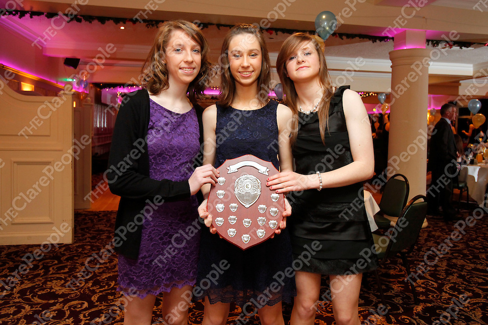 06/01/12<br /> Under 15's - Lauren McGuane, Kilmaley, Slaine Carey, Sixmilebridge and Lorraine O'Donoghue, Ruane pictured at the Clare Camogie Board Awards Night which took place at The Auburn Lodge Hotel, Ennis on Friday Night.<br /> Pic: Don Moloney/Press 22