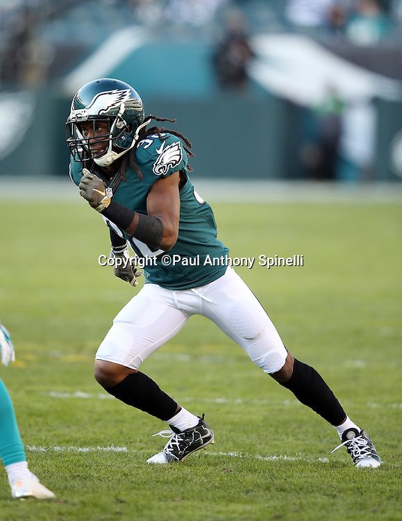 Philadelphia Eagles defensive back E.J. Biggers (38) chases the action during the 2015 week 10 regular season NFL football game against the Miami Dolphins on Sunday, Nov. 15, 2015 in Philadelphia. The Dolphins won the game 20-19. (©Paul Anthony Spinelli)