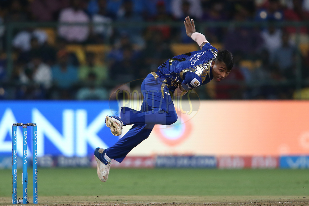 Hardik Pandya of the Mumbai Indians sends down a delivery during the 2nd qualifier match of the Vivo 2017 Indian Premier League between the Mumbai Indians and the Kolkata Knight Riders held at the M.Chinnaswamy Stadium in Bangalore, India on the 19th May 2017<br /> <br /> Photo by Shaun Roy - Sportzpics - IPL