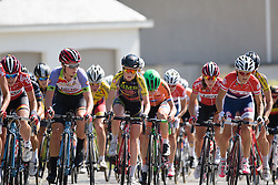 Lotte Kopecky (Lotto Soudal) and Marie Vilmann (BMS Birn) lead the peloton up the first GPM at the 108 km Stage 2 of the Lotto Belgium Tour 2016 on 8th September 2016 in Lierde, Belgium. (Photo by Sean Robinson/Velofocus).