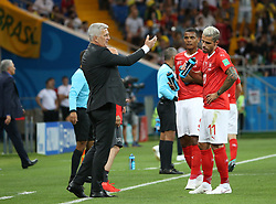 ROSTOV-ON-DON, June 17, 2018  Switzerland's head coach Vladimir Petkovic (L front) talks with Valon Behrami (R front) during a group E match between Brazil and Switzerland at the 2018 FIFA World Cup in Rostov-on-Don, Russia, June 17, 2018. (Credit Image: © Li Ming/Xinhua via ZUMA Wire)