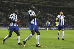 October 21, 2017 - Porto, Porto, Portugal - Porto's Malian forward Moussa Marega (R) celebrates after scoring goal with teammate Porto's Cameroonian forward Vincent Aboubakar (R) during the Premier League 2017/18 match between FC Porto and FC Pacos de Ferreira, at Dragao Stadium in Porto on October 21, 2017. (Credit Image: © Dpi/NurPhoto via ZUMA Press)
