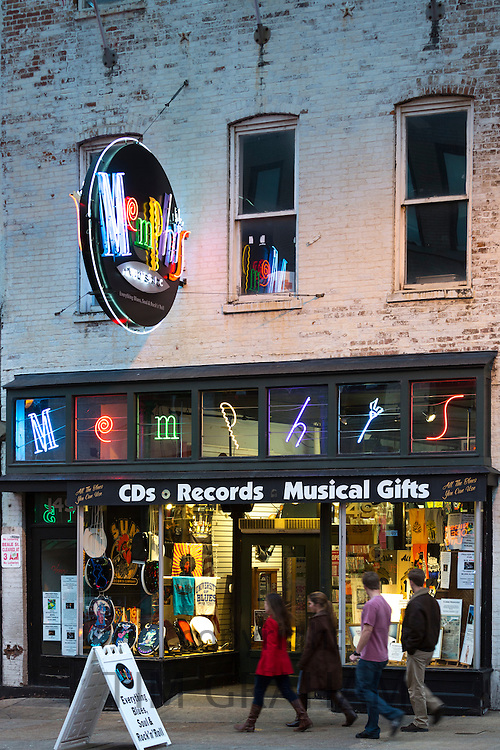 Record store and gifts in Beale Street entertainment district famous for Rock and Roll and Blues, Memphis, Tennessee USA