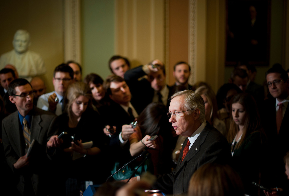 Senate Majority Leader HARRY REID (D-NV) speaks at a press conference outside of the Senate Chamber following the weekly party caucus lunches on Tuesday at the U.S. Capitol.