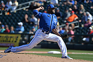 SURPRISE, AZ - MARCH 06:  Al Alburquerque #62 of the Kansas City Royals delivers a pitch in the sixth ining against the Arizona Diamondbacks in the spring training game at Surprise Stadium on March 6, 2017 in Surprise, Arizona.  (Photo by Jennifer Stewart/Getty Images)
