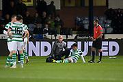 31st October 2018, Kilmac Stadium, Dundee, Scotland; Ladbrokes Premiership football, Dundee v Celtic; Daniel Arzani of Celtic gets treatment from physio Tim Williamson