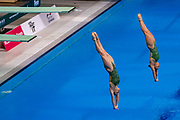 Maddison Keeney of Australia and Anabelle Smith of Australia in the Women's Syncronised 3m dive during the FINA/CNSG Diving World Series 2019 at London Aquatics Centre, London, United Kingdom on 17 May 2019.