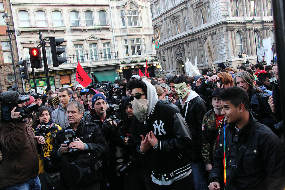 Students protest for the second time through central London against the increase in University Fees.The day ends in the students being kettled in Whitehall.  London, UK, 24/11/2010