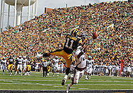 September 24, 2011: Iowa Hawkeyes wide receiver Kevonte Martin-Manley (11) can't pull in a pass as Louisiana Monroe Warhawks safety Isaiah Newsome (25) defends during the second quarter of the game between the Iowa Hawkeyes and the Louisiana Monroe Warhawks at Kinnick Stadium in Iowa City, Iowa on Saturday, September 24, 2011. Iowa defeated Louisiana Monroe 45-17.
