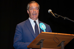 © Licensed to London News Pictures. 27/05/2019. London, UK. British Brexit party leader Nigel Farage makes a speech at the O2 Guildhall venue after being re-elected at a Member of the European Parliament. The Brexit Party is expected to do very well in the elections. Photo credit: Ray Tang/LNP