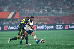 August 1, 2018 - Atlanta, Georgia, United States - MLS All-Star midfielder DIEGO VALERI, 8 (Portland Timbers) defended by Juventus defender JOÃO CANCELO, 20 during the 2018 MLS All-Star Game at Mercedes-Benz Stadium in Atlanta, Georgia.  Juventus F.C. defeats  MLS All-Stars defeat  1 to 1  (Credit Image: © Mark Smith via ZUMA Wire)