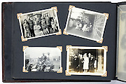 photo album page with wedding and family happy gathering images 1940s England