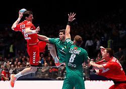 11.01.2020, Stadthalle, Graz, AUT, EHF Euro 2020, Montenegro vs Serbien, Gruppe A, im Bild von links Nemanja Zelenovic (SRB), Stefan Cavor (MNE), Vuk Lazovic (MNE) und Mijajlo Marsenic (SRB) // from l to r Nemanja Zelenovic (SRB) Stefan Cavor (MNE) Vuk Lazovic (MNE) and Mijajlo Marsenic (SRB) during the EHF 2020 European Handball Championship, group A match between Montenegro and Serbia at the Stadthalle in Graz, Austria on 2020/01/11. EXPA Pictures © 2020, PhotoCredit: EXPA/ Erwin Scheriau