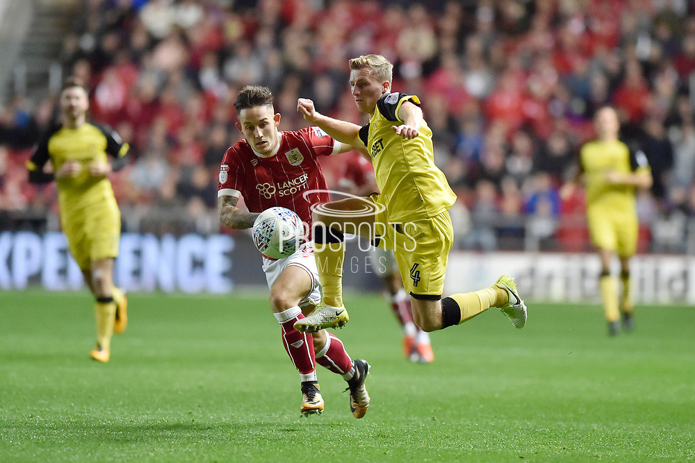 Burton Albion midfielder Jamie Allen (4) controls the ball during the EFL Sky Bet Championship match between Bristol City and Burton Albion at Ashton Gate, Bristol, England on 13 October 2017. Photo by Richard Holmes.