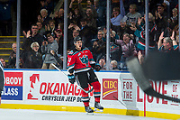 KELOWNA, CANADA - NOVEMBER 25: Carsen Twarynski #18 of the Kelowna Rockets celebrates a second period goal against the Medicine Hat Tigers on November 25, 2017 at Prospera Place in Kelowna, British Columbia, Canada.  (Photo by Marissa Baecker/Shoot the Breeze)  *** Local Caption ***