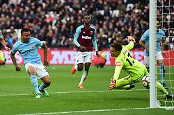 Gabriel Jesus of Manchester City scores. - Mandatory by-line: Alex James/JMP - 29/04/2018 - FOOTBALL - London Stadium - London, England - West Ham United v Manchester City - Premier League