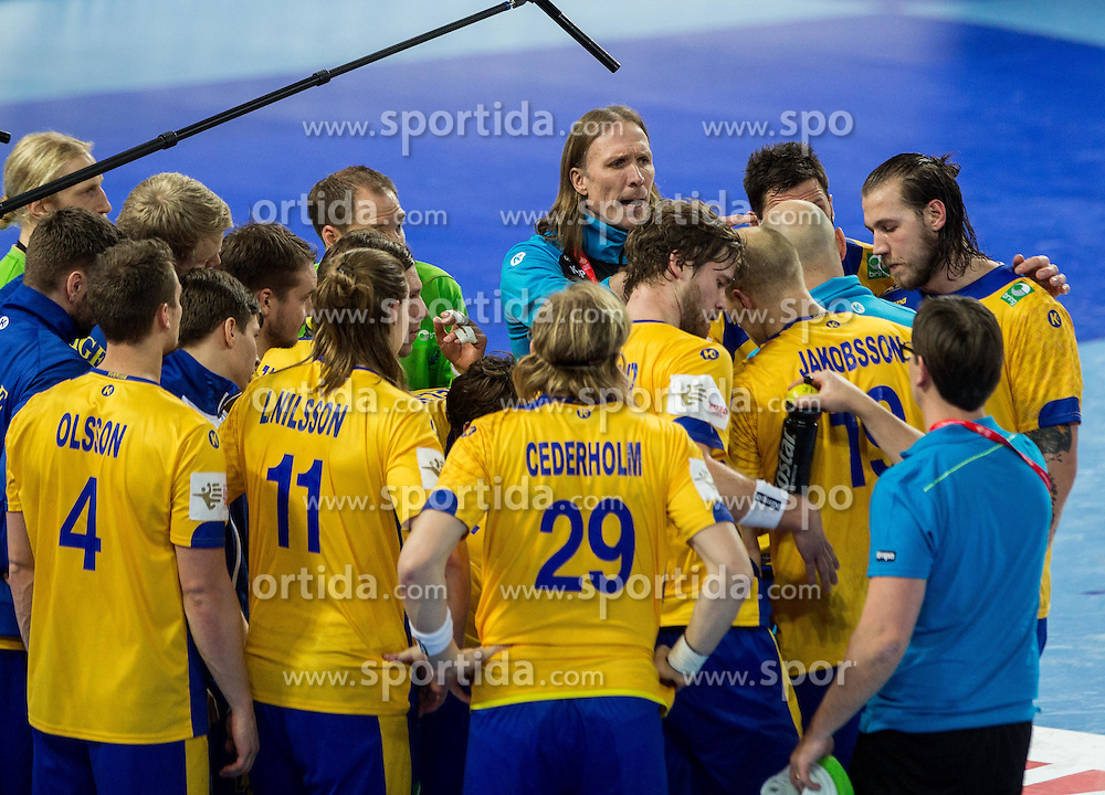 Staffan Olsson, coach of Sweden with players during handball match between National teams of Spain and Sweden on Day 6 in Preliminary Round of Men's EHF EURO 2016, on January 20, 2016 in Centennial Hall, Wroclaw, Poland. Photo by Vid Ponikvar / Sportida