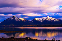 Sunset on the Wrangell Narrows, Inside Passage, near Petersburg, southeast Alaska USA
