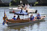 UK, 23 May 2010: The Tudor Pull is a ceremonial event for Thames Watermen's Cutters which is organised each year by the Thames Traditional Rowing Association (TTRA).The cutters escort the Thames Royal Shallop 'Jubilant' rowed by members of the Company of Watermen and Lightermen from Hampton Court Palace to the Tower of London to deliver a 'Stela' to the Governor of the Tower for safekeeping. . For piQtured Sales Contact:  Ian@piqtured.com Tel: +44(0)791 626 2580 (Picture by Richard Goldschmidt/Piqtured)