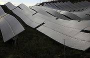 Array of solar panels on a  grey overcast day, Sierra Alhamilla, near Nijar, Almeria, Spain