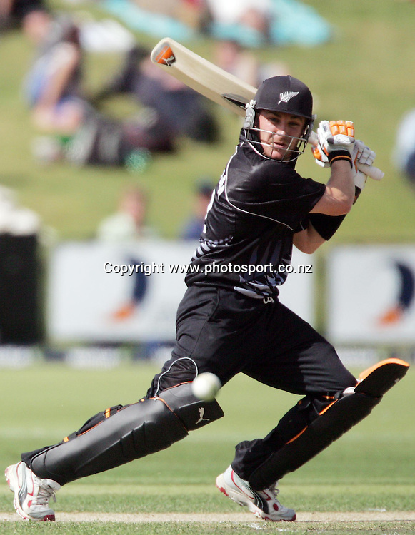 Brendon McCullum cuts during the second ODI cricket match between the New Zealand Black Caps and the West Indies at the Queenstown Events Centre, Queenstown, New Zealand on Wednesday 22 February, 2006. The Black Caps won the match by 3 wickets. Photo: Hannah Johnston/PHOTOSPORT