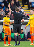 Sam Wood (Midfielder) of Wycombe Wanderers is booked during the Sky Bet League 2 match between Hartlepool United and Wycombe Wanderers at Victoria Park, Hartlepool, England on 16 January 2016. Photo by George Ledger.