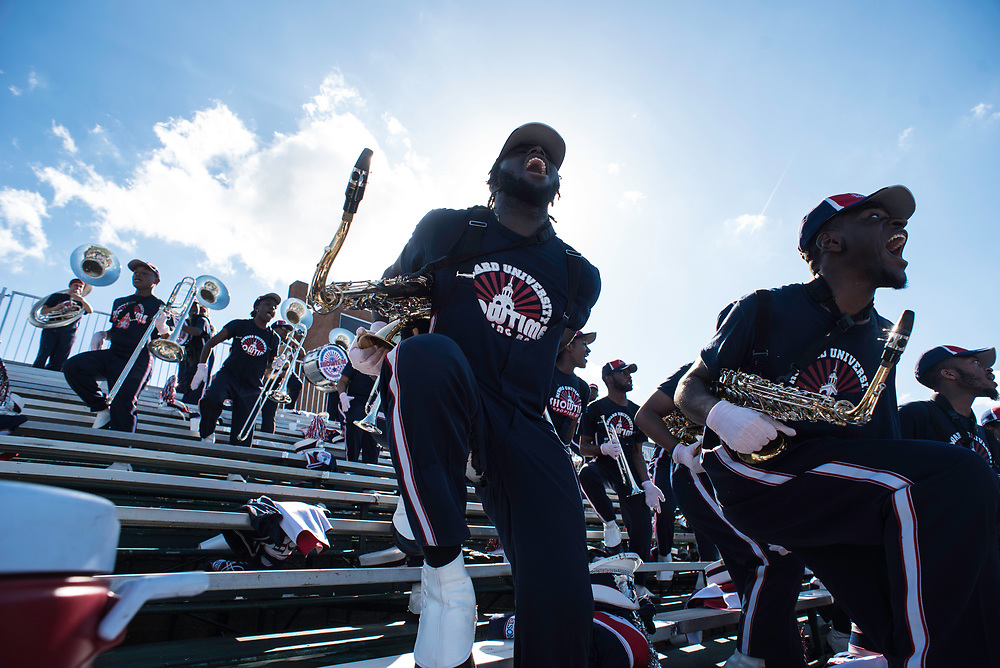 WASHINGTON,DC - October 7, 2017: Tenor sax player Gabby Addane left and Donovan Carter, on alto sax, as the band fires a shot at NCC.<br /> Howard University's Showtime Marching Band is part of a long tradition of outstanding bands at HBCU's. The band practices in the days leading up to a home game against North Carolina Central. (Andr&eacute; Chung for The Undefeated)