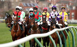 Runners and riders in the Start Your RacingTV Free Trial Now Handicap Hurdle during Midlands Raceday at Warwick Racecourse.