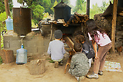 LES PALMISTES, FRANCE - DECEMBER 12, 2010: Unidentified kids burn traditional outdoor oven to produce geranium oil - a fragrant oil used in cosmetics and culinary dishes - at Les Palmistes, Reunion island, France.