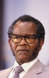 Jan. 27, 1987 - Washington, District of Columbia, United States of America - Washington DC. 1-27-1987.Oliver Tambo President of the African National Congress waits to deliver his speech at Georgetown University. .Credit: Mark Reinstein (Credit Image: © Mark Reinstein/ZUMA Wire)
