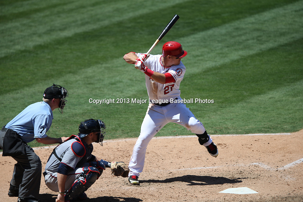 ANAHEIM, CA - JULY 24:  Mike Trout #27 of the Los Angeles Angels of Anaheim bats during the game against the Minnesota Twins on Wednesday, July 24, 2013 at Angel Stadium in Anaheim, California. The Angels won the game in a 1-0 shutout. (Photo by Paul Spinelli/MLB Photos via Getty Images) *** Local Caption *** Mike Trout