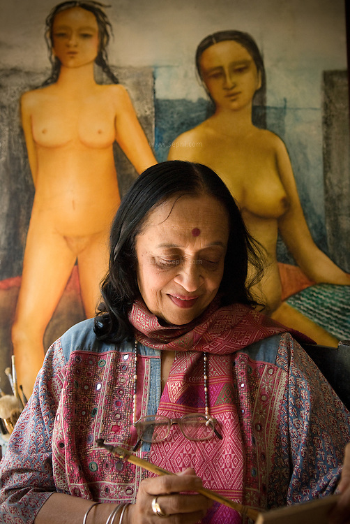 Artist Anjolie Ela Menon in her studio. New Delhi, September 2008