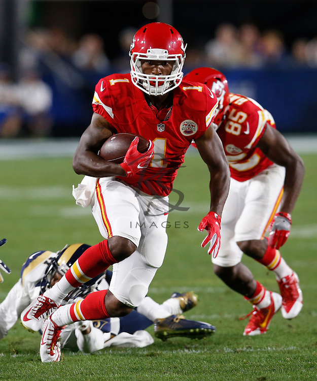 Kansas City Chiefs running back Da' Ron Brown (1) during a preseason NFL football game against the Los Angeles Rams, Saturday, Aug. 20, 2016, in Los Angeles. (AP Photo/Rick Scuteri)