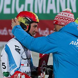 12.02.2013, Planai, Schladming, AUT, FIS Weltmeisterschaften Ski Alpin, Nation Team Event, im Bild Marcel Hirscher (AUT, 1. Platz) und Peter Schroecksnadel, OeSV // 1st place Marcel Hirscher of Austria and Peter Schroecksnadel, OeSV in the finish area at Nation Team Event at the FIS Ski World Championships 2013 at the Planai Course, Schladming, Austria on 2013/02/12. EXPA Pictures © 2013, PhotoCredit: EXPA/ Martin Huber
