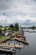 Henley on Thames, England, United Kingdom, Saturday, 06.07.19, General View, GV, Umpire Launches, and spectators, Henley Royal Regatta,  Henley Reach, [©Karon PHILLIPS/Intersport Images]<br /> <br /> 13:36:41 1919 - 2019, Royal Henley Peace Regatta Centenary,