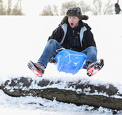 © Licensed to London News Pictures. 21/01/2013. London, United Kingdom.  A young man jumps on a sledge in the snow at Hampstead Heath North London as the capital experiences it's fourth day of snow.  Photo credit : Justin Setterfield/LNP